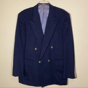 Vintage Neiman Marcus Blazer Wool Coat Mens Navy